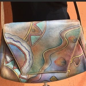 Hand  painted leather Crossbody messenger purse